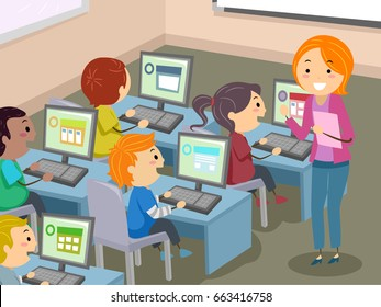 Illustration of Stickman Kids Students with Teacher in Computer Laboratory