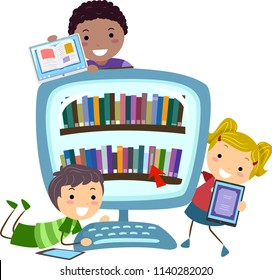 Illustration of Stickman Kids with Tablet Computers and a Computer Full of Digital Books