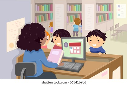 Illustration of Stickman Kids Talking to a Librarian, Borrowing Books in the Library