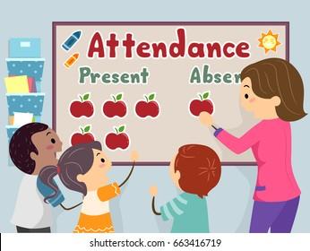 An Illustration of Stickman Kids and Teacher Decorating Attendance Board