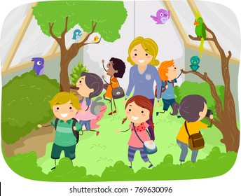 Illustration of of Stickman Kids with Teacher Exploring Aviary with Full of Plants and Birds