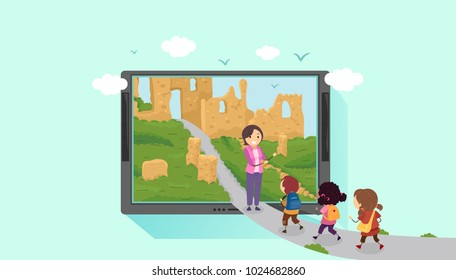 Illustration of Stickman Kids and Teacher Going Inside a Tablet Computer to a Ruins. Virtual Travel