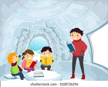 Illustration of Stickman Kids and Teacher Learning Inside an Igloo Classroom