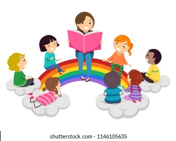 Illustration of Stickman Kids and Teacher Reading a Book and Sitting on a Rainbow