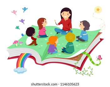 Illustration of Stickman Kids with Teacher Telling Story on Top of an Open Book