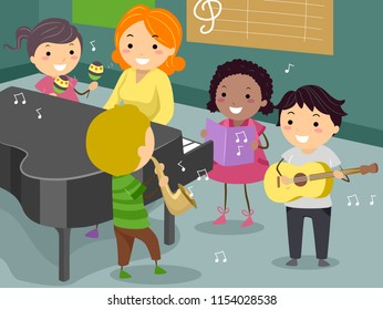 Illustration of Stickman Kids with Teachers Playing Musical Instruments in the Music Room