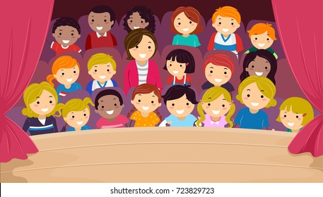 Illustration of Stickman Kids and Their Family in the Audience Watching a Show