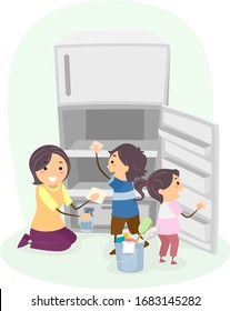 Illustration of Stickman Kids and their Mother Cleaning a Refrigerator, with their Mom Teaching Them