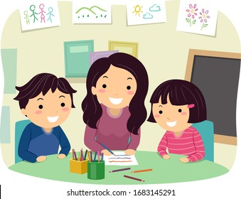 Illustration of Stickman Kids and their Mother Brainstorming During their Homeschooling Schedule