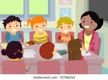 Illustration of Stickman Kids and their Teacher Holding a Council Meeting