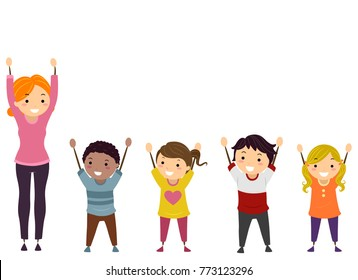 Illustration of Stickman Kids and their Teacher with Arms Up