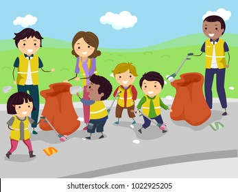 Illustration of Stickman Kids with their Teachers Cleaning the Road