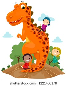 Illustration of Stickman Kids with a Tyrannosaurus Rex with the Alphabet on Its Skin