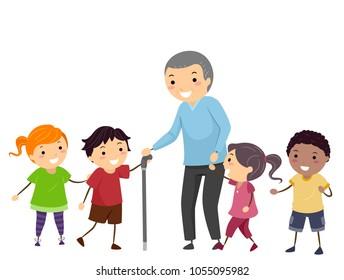 Illustration of Stickman Kids Walking and Helping a Senior Man