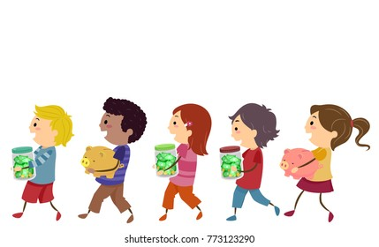 Illustration of Stickman Kids Walking and Holding Piggy Banks and Money Jars