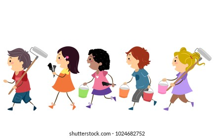 Illustration of Stickman Kids Walking to the Left Carrying Roller Brush, Brush and Paint for Painting a Mural