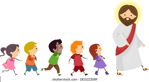 Illustration of Stickman Kids Walking to the Right Following Jesus Christ