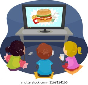 Illustration of Stickman Kids Watching a Commercial About Junk Foods on Television