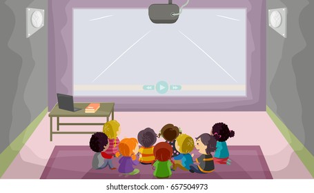 Kids Watching Movie in Theater Clip Art - Kids Watching ... |Kids Watching Movie Clipart