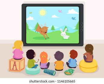 Illustration of Stickman Kids Watching Reindeer and Rabbit Cartoons on Television