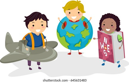 Illustration of Stickman Kids wearing an Airplane, a Globe and a Geography Book
