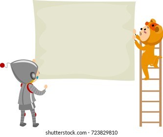 Illustration of Stickman Kids Wearing Costumes Posting a Blank Poster for their Show