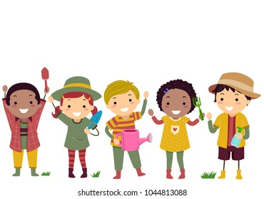 Illustration of Stickman Kids Wearing Gardening Outfits and Holding Tools like Shovel, Watering Can and Fork