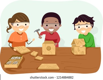 Illustration of Stickman Kids Wearing Gloves Making a Bird House at a Woodworking Workshop