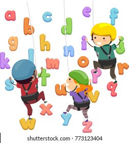 Illustration of Stickman Kids Wearing Helmet, Climbing and Going Up an Alphabet Wall