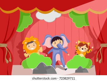 Illustration of Stickman Kids Wearing Lion, Elephant and Tiger Animal Costumes on Stage