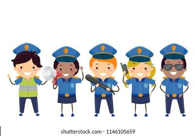 Illustration of Stickman Kids Wearing Police Costume with Megaphone, Baton and Radio