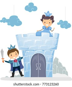 Illustration of Stickman Kids Wearing Princess and Prince Costume Playing Castle