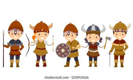 Illustration of Stickman Kids Wearing Viking Costumes with Helmet, Bow, Arrow, Spear, Axe and Sword