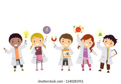 Illustration of Stickman Kids Wearing White Lab Gown with Physics Elements from Light Bulb, Magnet to Flask