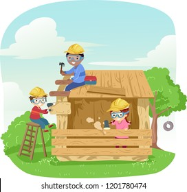 Illustration of Stickman Kids Wearing Yellow Hats Constructing A Wooden Play House. Woodworking