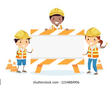 Illustration of Stickman Kids Wearing Yellow Hard Hat and Vest, Standing with a Construction Sign Board
