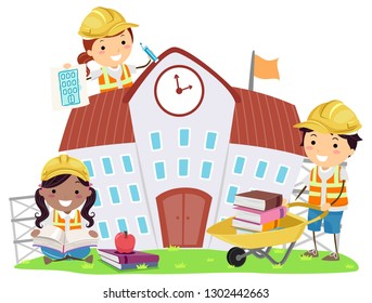 Illustration of Stickman Kids Wearing Yellow Construction Hat Pushing Books, Reading and Drawing a Building