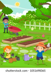 Illustration of Stickman Kids Working in the Garden with Seedlings, Shovel and Wheelbarrow