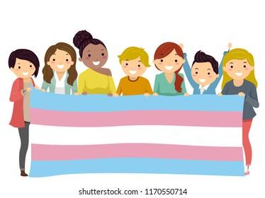 Illustration of Stickman Man and Woman Holding a Transgender Flag. LGBT