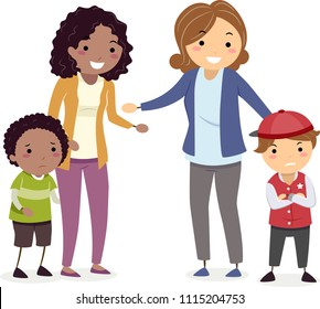 Illustration of Stickman Mom Asking their Kid Boys to Make Up from a Fight