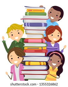 Illustration of Stickman Parents Man and Woman Holding a Stack of Books for School Book Fair