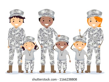 Illustration of Stickman Soldier Parents with Kids In Camouflage Uniform
