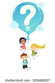 Illustration of Stickman Student Kids Carried by a Big Blue Balloon with a Question Mark