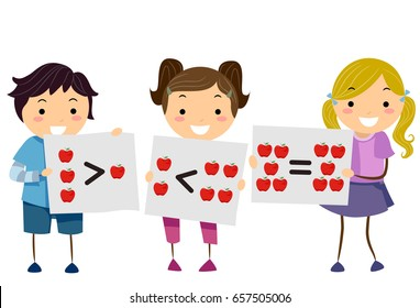 Illustration of Stickman Students Holding Flash Cards About Greater Than, Less Than and Equal Signs