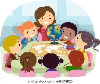 An Illustration of Stickman Teacher and her Students in Geography Class