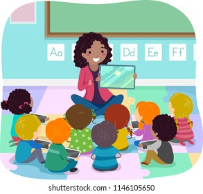 Illustration of Stickman Teacher Showing a Story Book Using a Computer Tablet to Kids in Class