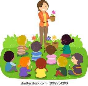 Illustration of a Stickman Teacher Teaching Flowers and Gardening to Kids in the Garden