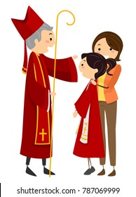 Illustration of a Stickman Teen Girl Having the Sacrament of Confirmation with a Priest and her Mother