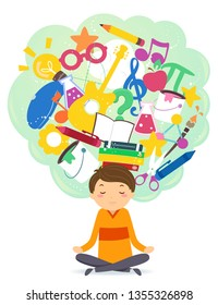 Illustration of Stickman Teen Guy Sitting Down in Yoga Lotus Pose with Thinking Cloud Full of Different Things