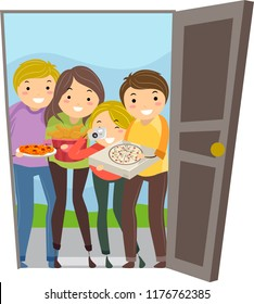 Illustration of Stickman Teenage Girls and Guys By the Open Door with Pizza
